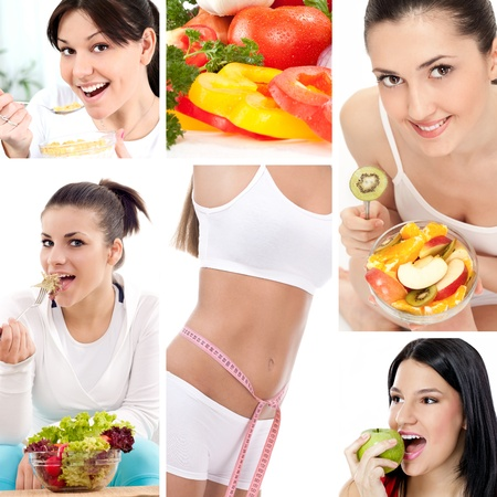 Dieting collage, beautiful healthy women  photo