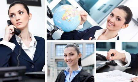 Collage of  success businesswoman in office photo