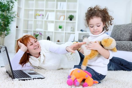 mother and daughter spending time together photo