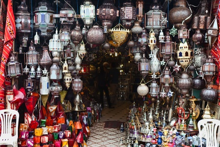 gold souk:  Traditional lamps for sale in a Moroccan souk, Marrakesh Stock Photo