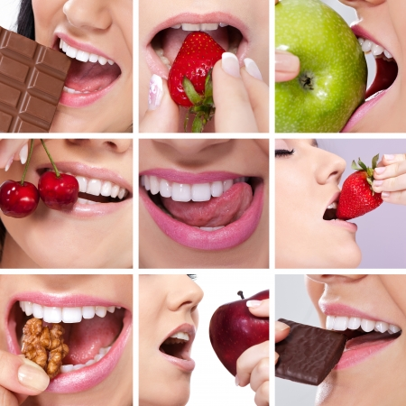 collage of woman's mouth desire eating photo