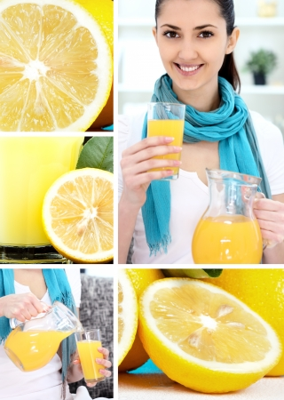 Collage of different photos with lemon photo