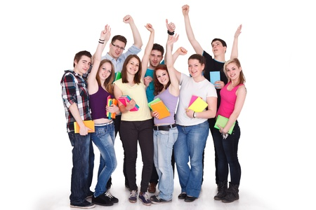 successes:  large group of smiling successes student
