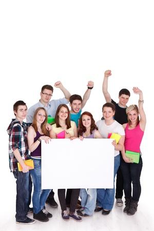jovenes estudiantes: Felices los jóvenes con pizarra blanca