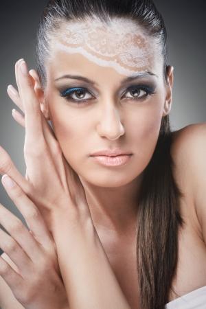 Beautiful make up woman, looking at camera photo