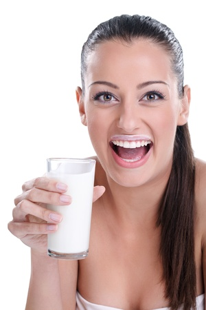 woman drinking milk:  Fresh and beautiful girl with milk moustache Stock Photo