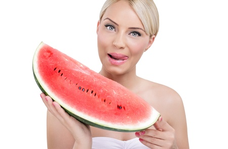 water melon:  beautiful young woman holding tasty watermelon