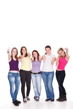 Group of happy young girl giving the thumbs-up sign Stock Photo - 14332304
