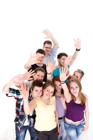 bye: Group of young smiling friends waving their arms on white background