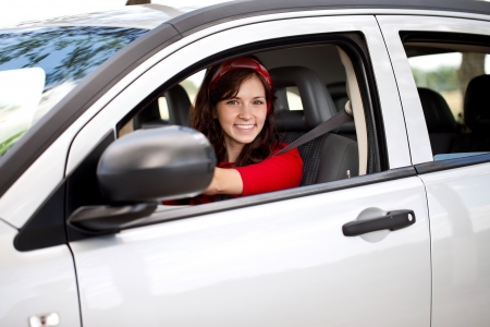 woman driving car: happy woman driver
