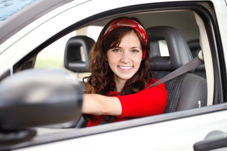 Young beautiful woman in car Stock Photo - 14734517