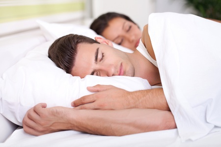 pillow sleep: Man and woman sleeping Stock Photo