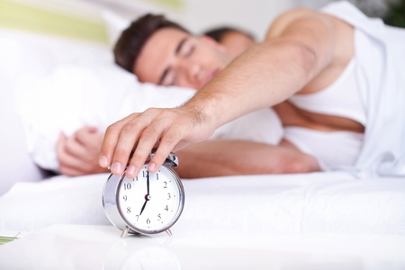 and the horizontal man:  guy turning off alarm clock