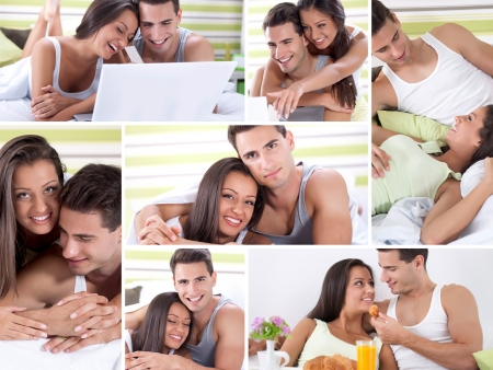 Happy young couple in bed enjoying together photo