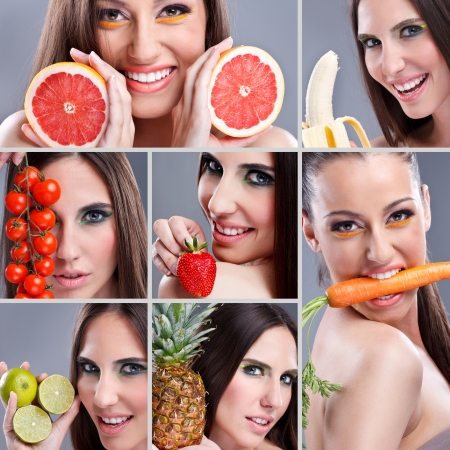 boca sana: Hermosa mujer comiendo diferentes tipos de frutas, collage comida sana Foto de archivo