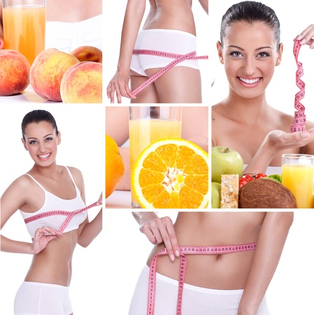 beautiful healthy lifestyle theme collage made from few photographs, weightloss photo
