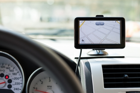 car navigation:  GPS navigation system in a traveling car Stock Photo