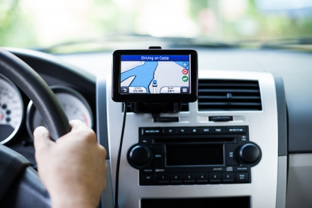GPS navigation in interior of luxury car Stock Photo