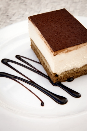 custard slices:  Delicious cheesecake on plate
