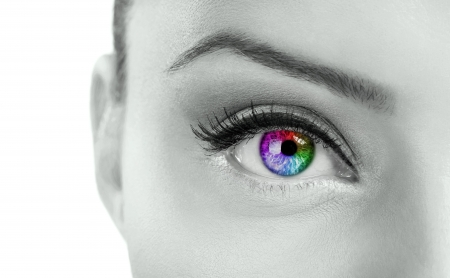 irises: Beautiful  colorful eye  - rainbow color , close up