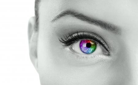 iris: Beautiful  colorful eye  - rainbow color , close up