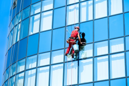 window washer: Window washer , washing office building windows