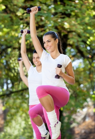 Young women doing aerobic exercise with dumbbells photo