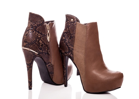 Pair of boots with high heels photo