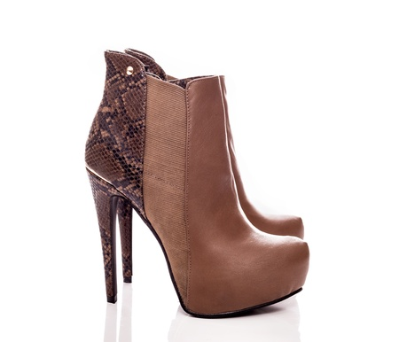 Elegance short leather boots with animal print  photo