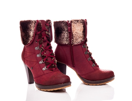 Modern female boots with fur photo
