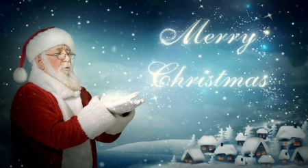 christmas santa: Santa Claus blowing Merry Christmas from snow to little town Stock Photo