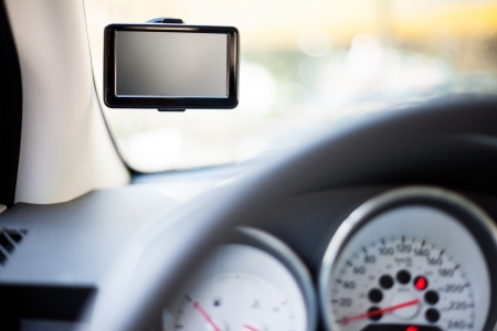 GPS device on  windshield with empty screen Stock Photo - 16820626