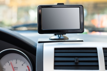 Satellite navigation system on  windshield in car Stock Photo - 16820744