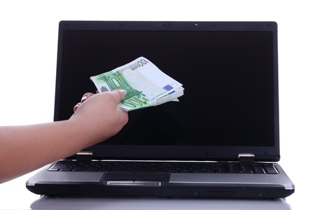 bank transfer: electronic money transfer concept - money being send easily online Stock Photo