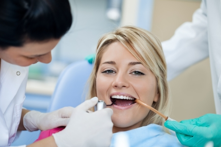 Positive patient at the dentist - dental check-up Stock Photo - 16860988