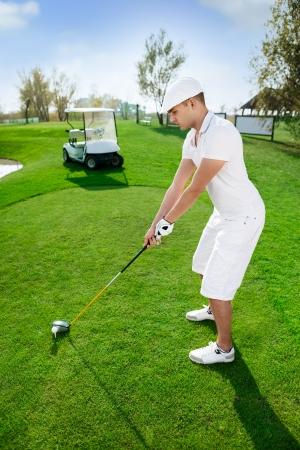 golf man player green putting hole golf ball Stock Photo - 16861015