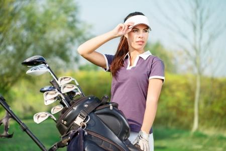 beautiful girl golf player portrait Stock Photo - 16861011