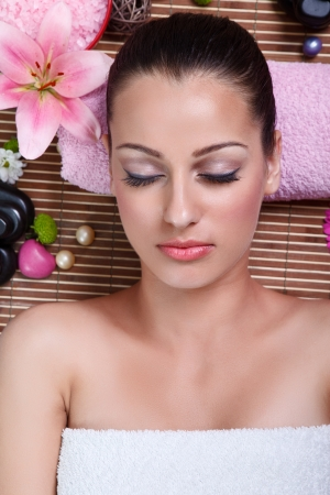 Young woman enjoying at spa salon, beauty and spa Stock Photo - 16861012