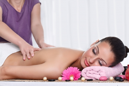 Woman receiving massage on back in spa center Stock Photo - 16860976