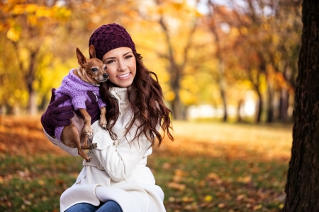 Beautiful happy woman with her dog, concept - I love my dog Stock Photo - 16860989