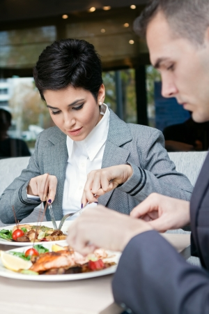 Business  couple enjoy  in lunch at restaurant  photo