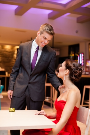 young couple occupies place in a restaurant photo