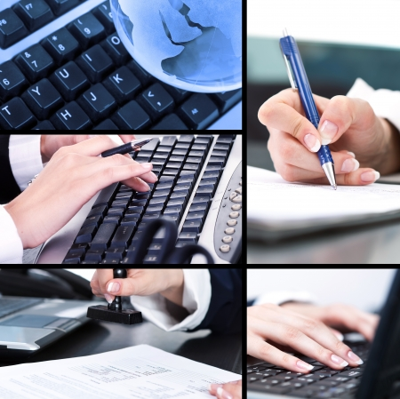 woman handle success:  Business collage made of different business pictures Stock Photo