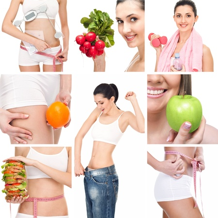 weight loss success: Diet collage. Healthy lifestyle concept