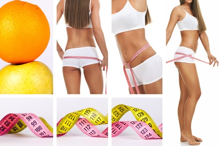 collage of perfect female body with measuring tape photo