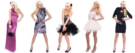 Fashion pretty girl full length in modern, dress, studio shot, collage photo