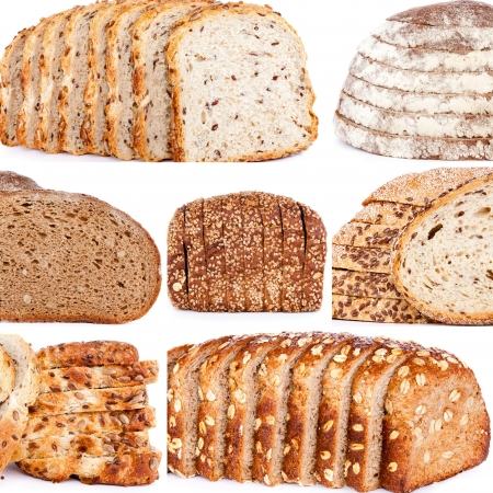integral:  Assortment of baked bread on a collage
