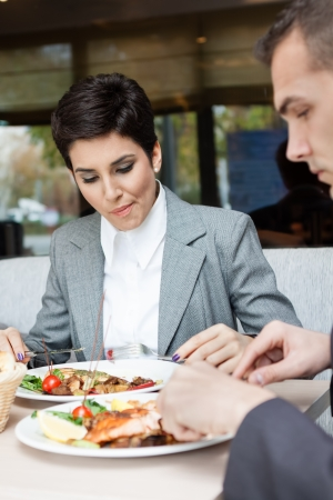 lunch break: Businesswomen on lunch with her colleague