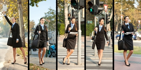 business woman phone:  businesswoman on the way to work, collage Stock Photo