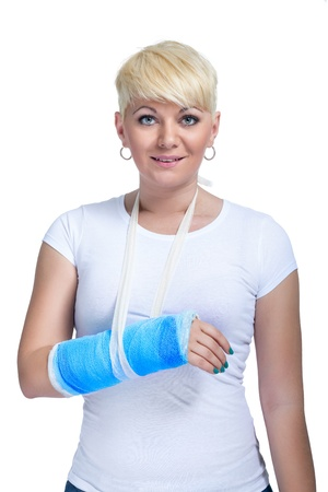 Female patient with broken arm in cast on a white background photo